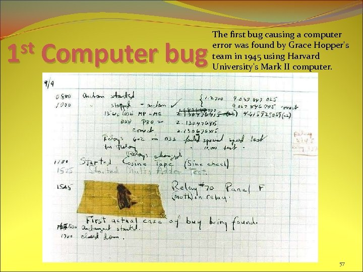 st 1 Computer bug The first bug causing a computer error was found by