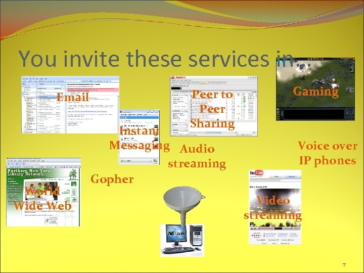 You invite these services in… Email World Wide Web Peer to Peer Sharing Instant