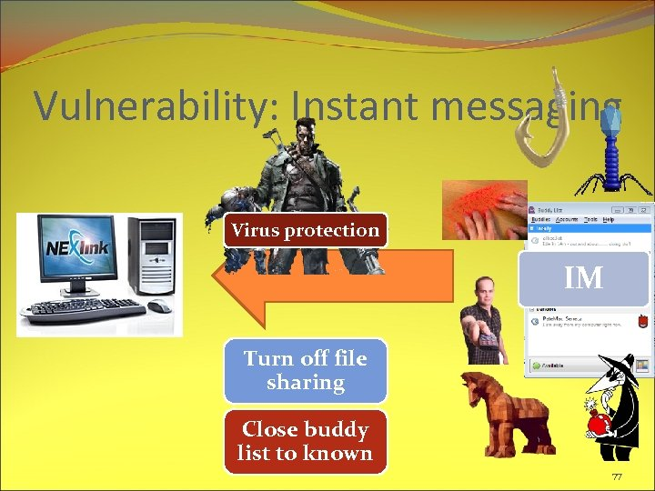 Vulnerability: Instant messaging Virus protection IM Turn off file sharing Close buddy list to