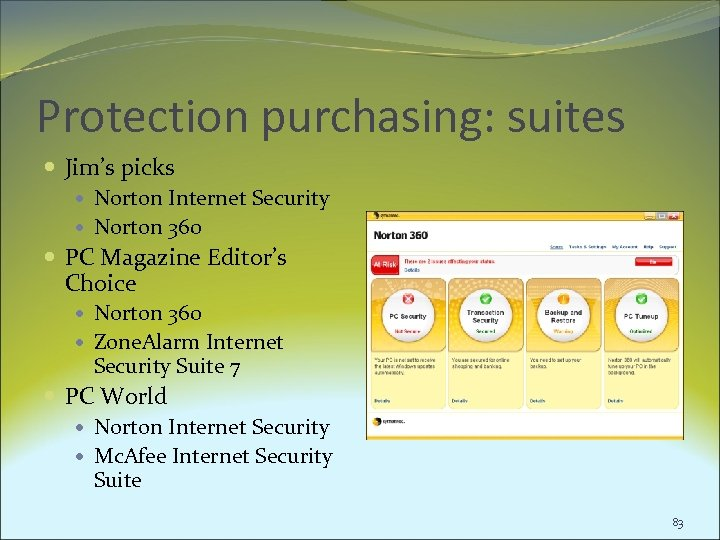 Protection purchasing: suites Jim's picks Norton Internet Security Norton 360 PC Magazine Editor's Choice