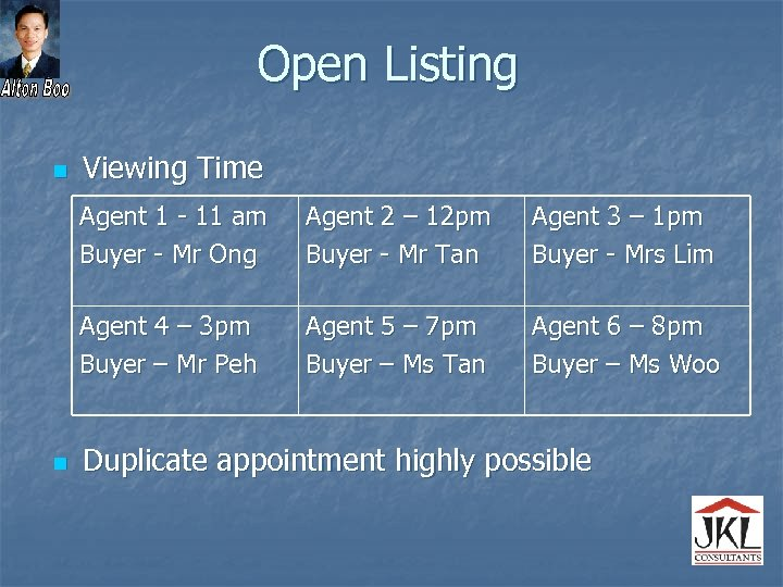 Open Listing n Viewing Time Agent 1 - 11 am Buyer - Mr Ong