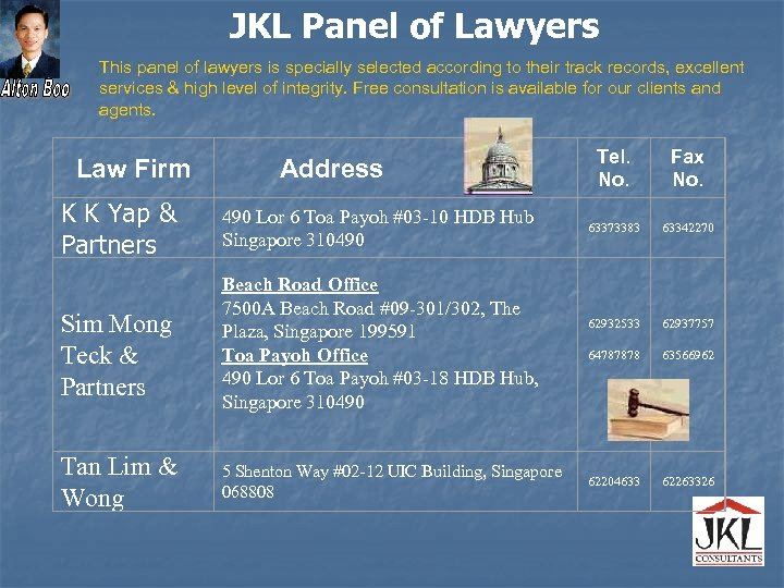 JKL Panel of Lawyers This panel of lawyers is specially selected according to their