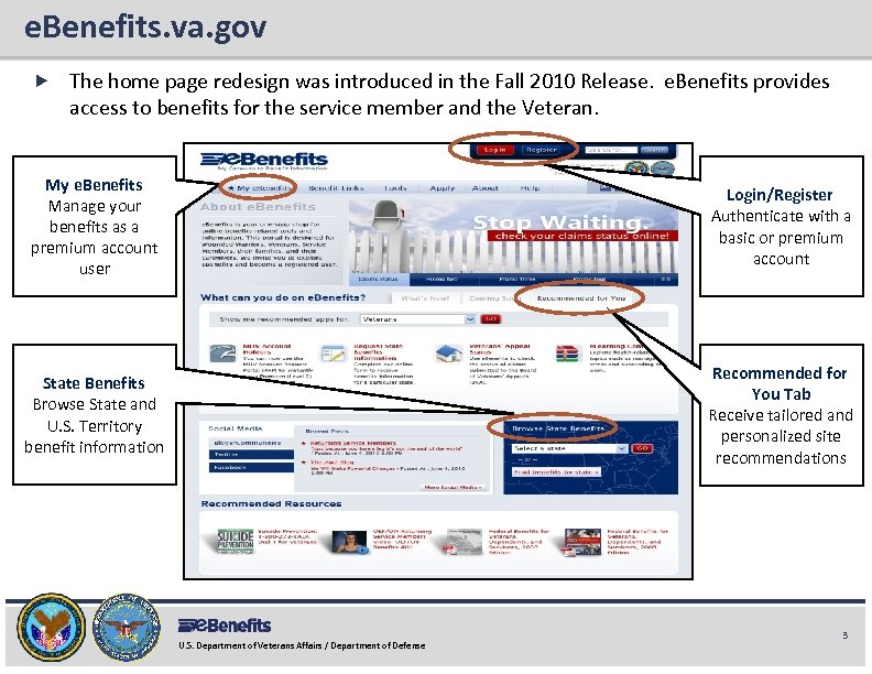 e. Benefits. va. gov e. Benefits Briefing The home page redesign was introduced in