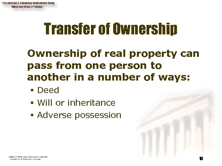 Transfer of Ownership of real property can pass from one person to another in