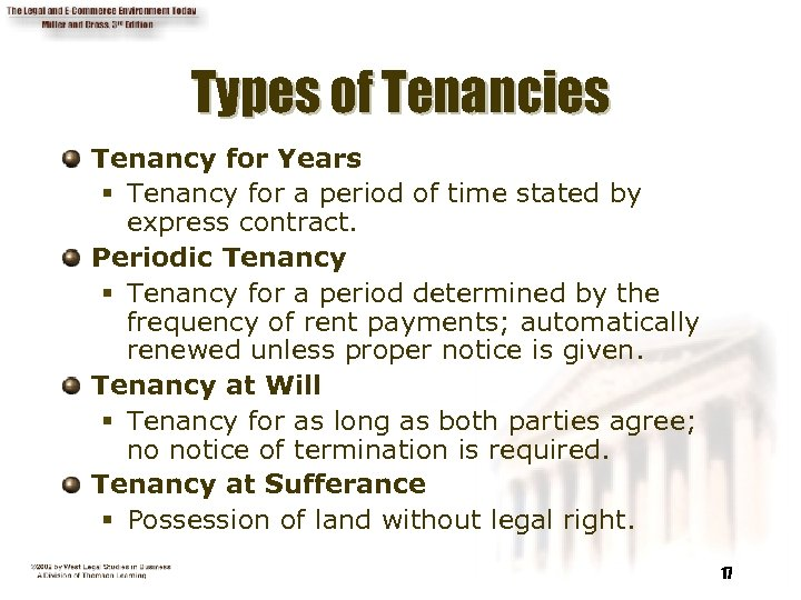 Types of Tenancies Tenancy for Years § Tenancy for a period of time stated