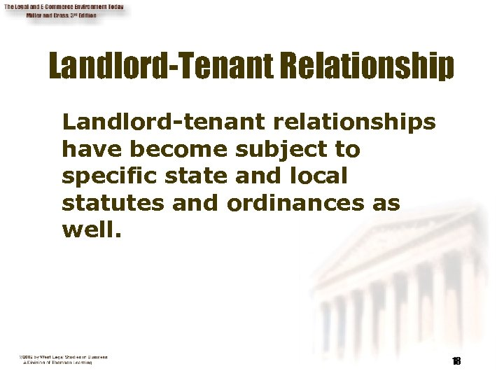 Landlord-Tenant Relationship Landlord-tenant relationships have become subject to specific state and local statutes and
