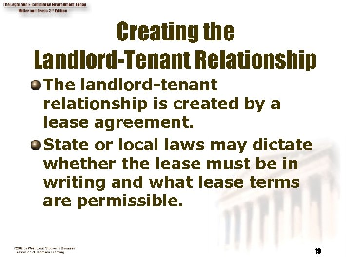 Creating the Landlord-Tenant Relationship The landlord-tenant relationship is created by a lease agreement. State