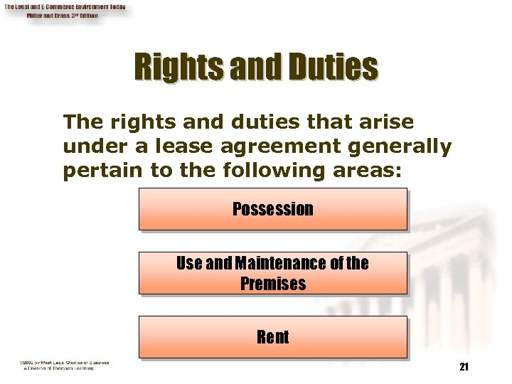 Rights and Duties The rights and duties that arise under a lease agreement generally