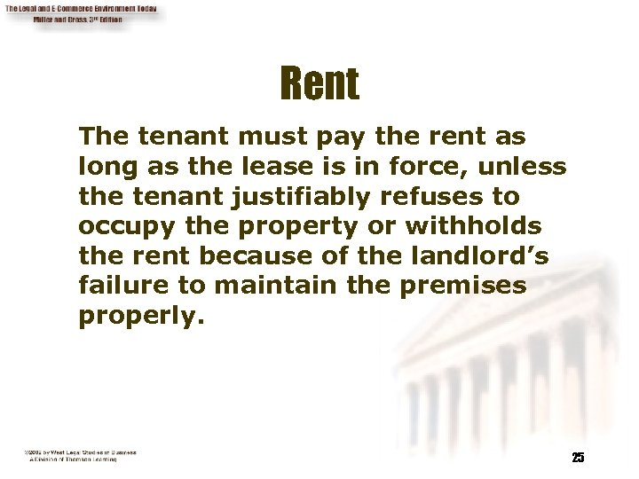 Rent The tenant must pay the rent as long as the lease is in