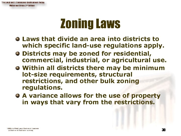 Zoning Laws that divide an area into districts to which specific land-use regulations apply.