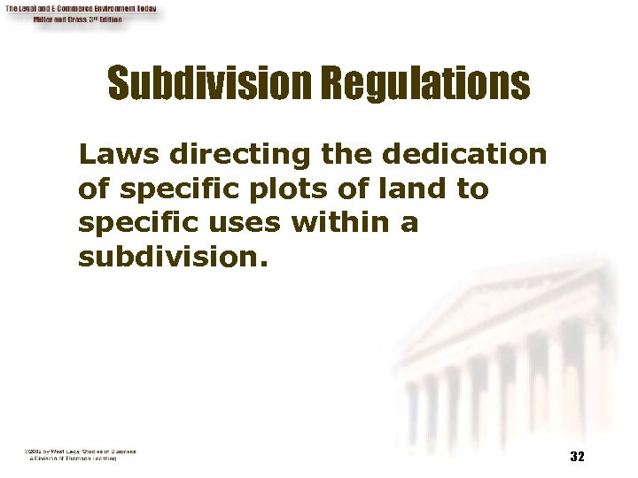 Subdivision Regulations Laws directing the dedication of specific plots of land to specific uses