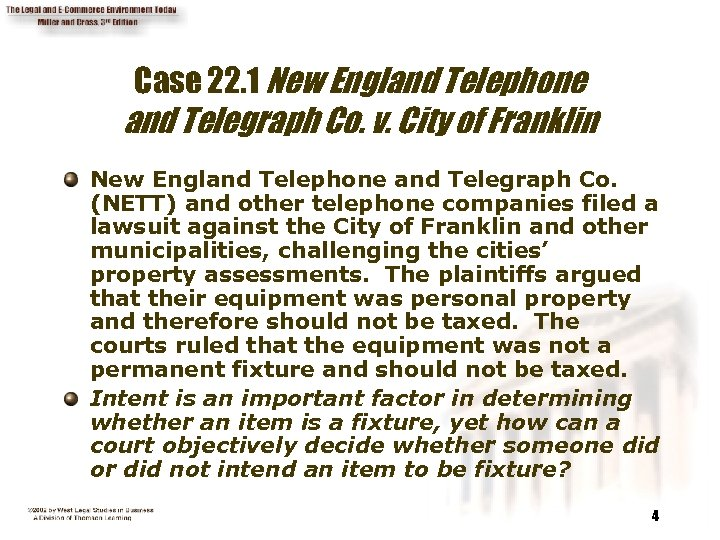 Case 22. 1 New England Telephone and Telegraph Co. v. City of Franklin New