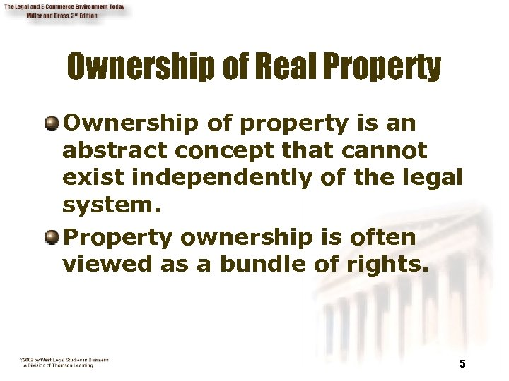 Ownership of Real Property Ownership of property is an abstract concept that cannot exist
