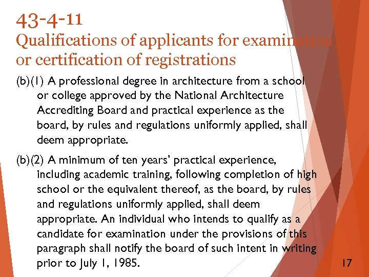 43 -4 -11 Qualifications of applicants for examination or certification of registrations (b)(1) A