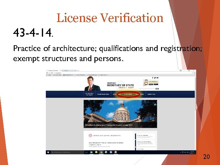 License Verification 43 -4 -14. Practice of architecture; qualifications and registration; exempt structures and