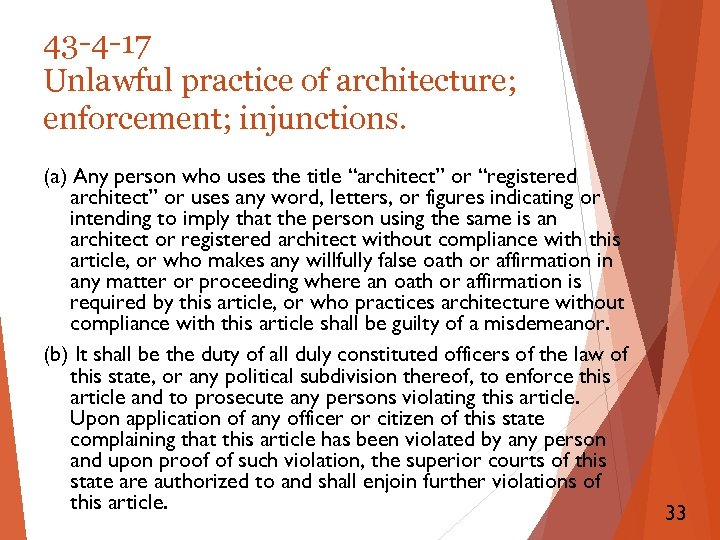 43 -4 -17 Unlawful practice of architecture; enforcement; injunctions. (a) Any person who uses