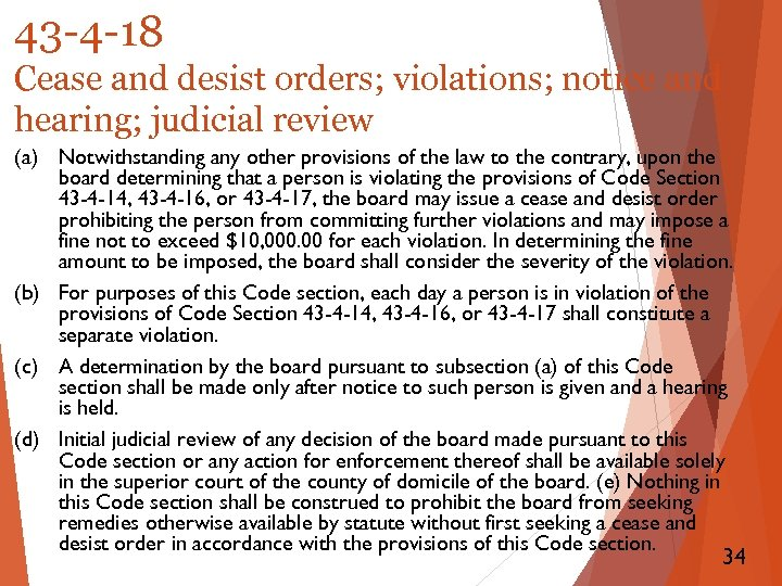 43 -4 -18 Cease and desist orders; violations; notice and hearing; judicial review (a)