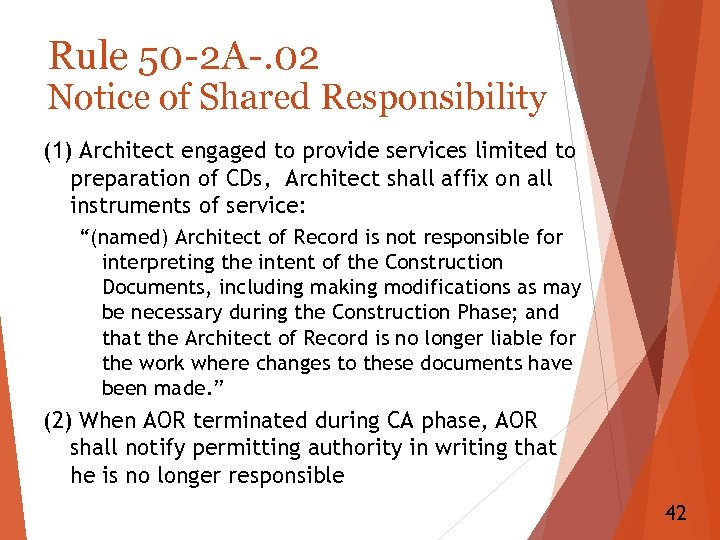Rule 50 -2 A-. 02 Notice of Shared Responsibility (1) Architect engaged to provide