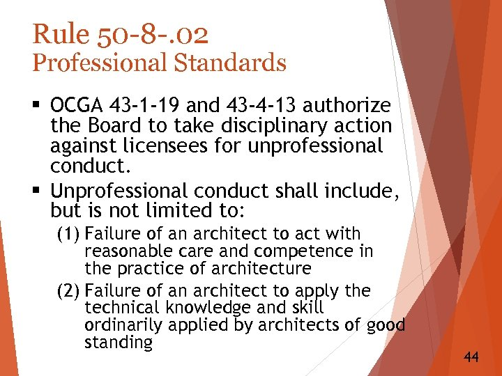 Rule 50 -8 -. 02 Professional Standards § OCGA 43 -1 -19 and 43