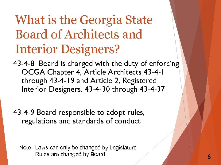 What is the Georgia State Board of Architects and Interior Designers? 43 -4 -8