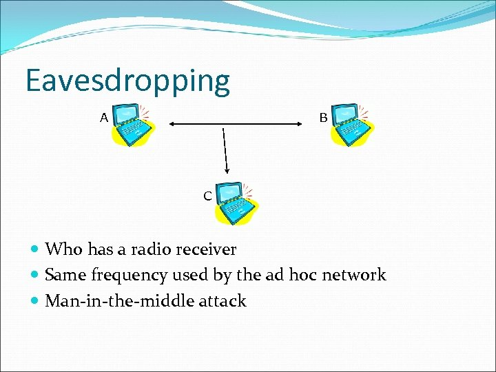 Eavesdropping A B C Who has a radio receiver Same frequency used by the