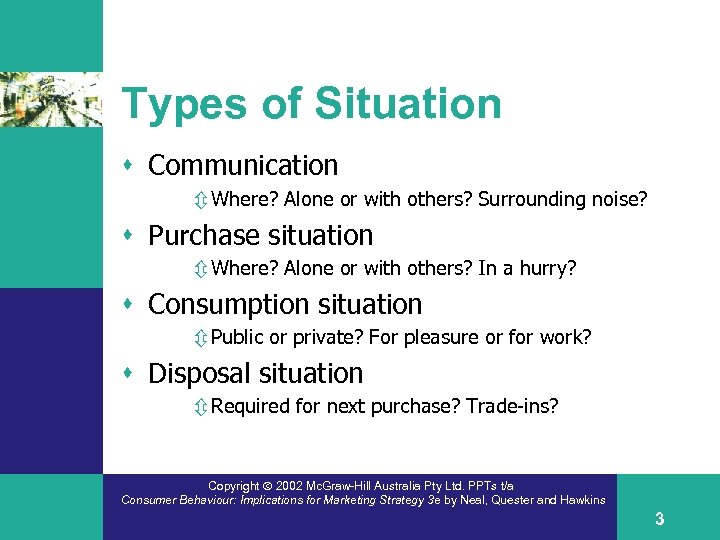 Types of Situation s Communication ô Where? Alone or with others? Surrounding noise? s