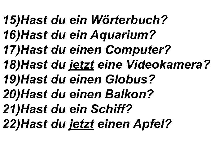 15)Hast du ein Wörterbuch? 16)Hast du ein Aquarium? 17)Hast du einen Computer? 18)Hast du