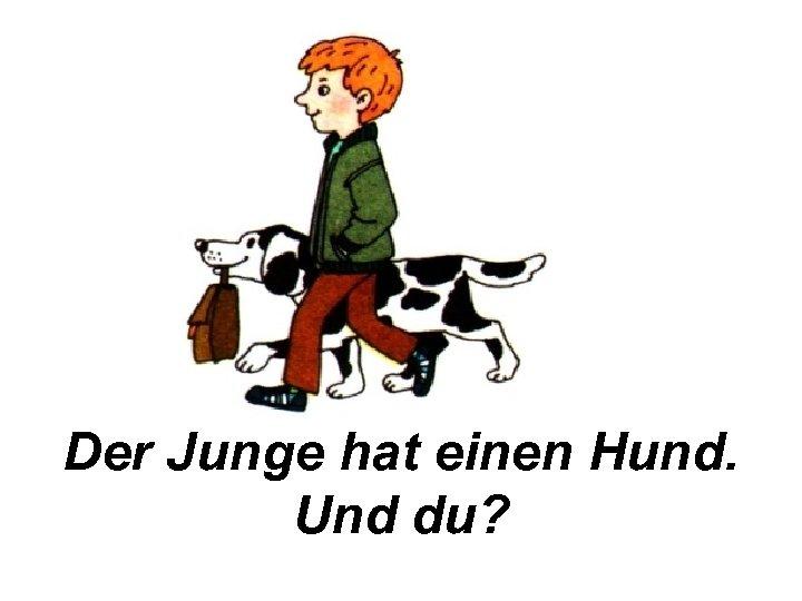 Der Junge hat einen Hund. Und du?