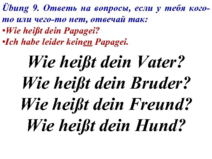 Übung 9. Ответь на вопросы, если у тебя когото или чего-то нет, отвечай так: