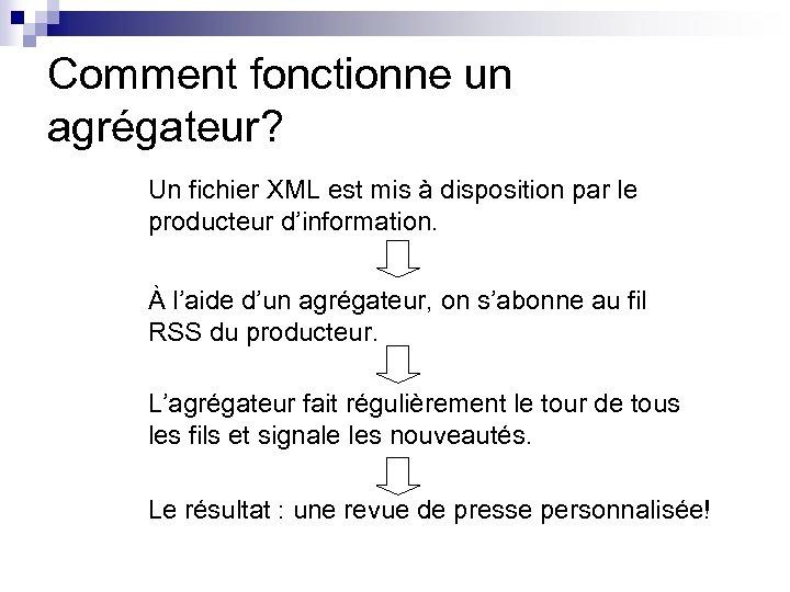 Comment fonctionne un agrégateur? Un fichier XML est mis à disposition par le producteur