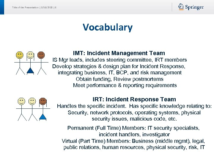 Title of the Presentation | 3/16/2018 | 6 Vocabulary IMT: Incident Management Team IS