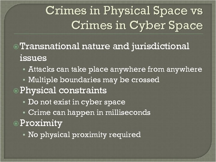 Crimes in Physical Space vs Crimes in Cyber Space Transnational nature and jurisdictional issues