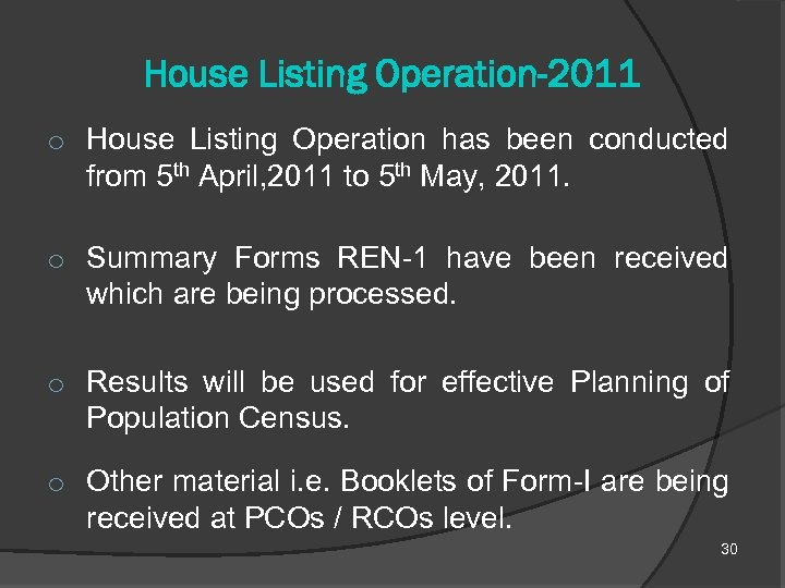 House Listing Operation-2011 o House Listing Operation has been conducted from 5 th April,