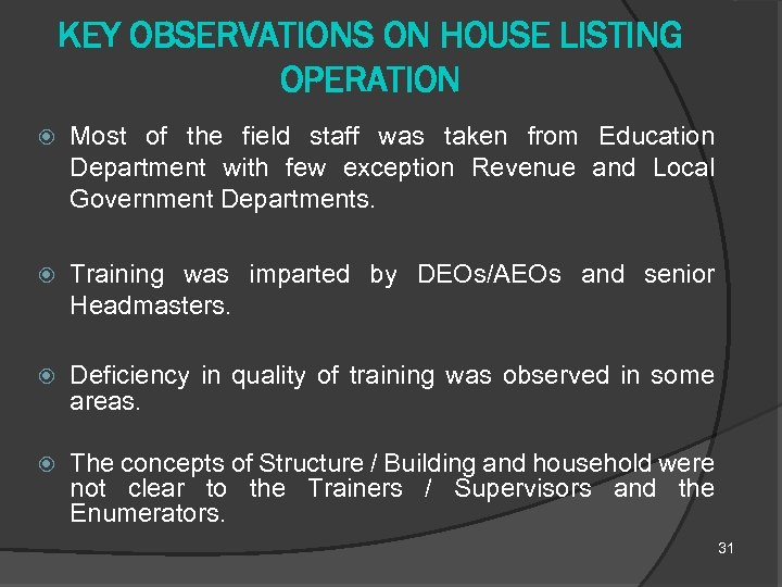 KEY OBSERVATIONS ON HOUSE LISTING OPERATION Most of the field staff was taken from