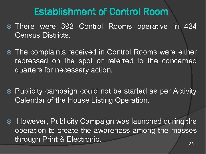 Establishment of Control Room There were 392 Control Rooms operative in 424 Census Districts.