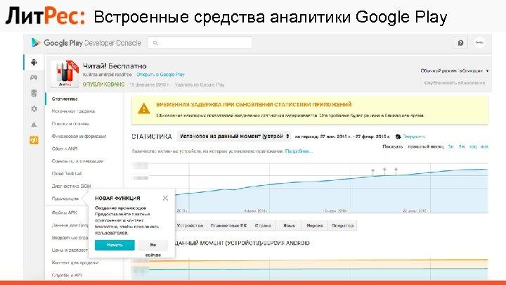 Встроенные средства аналитики Google Play