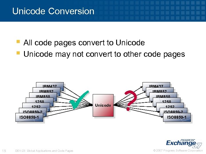 Unicode Conversion § All code pages convert to Unicode § Unicode may not convert