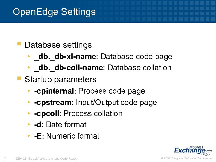 Open. Edge Settings § Database settings • _db-xl-name: Database code page • _db-coll-name: Database