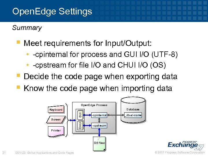 Open. Edge Settings Summary § Meet requirements for Input/Output: • -cpinternal for process and