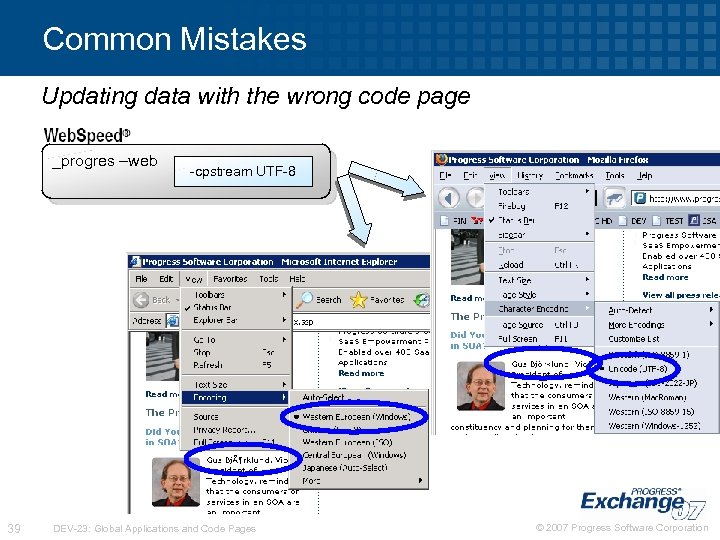 Common Mistakes Updating data with the wrong code page _progres –web 39 -cpstream UTF-8