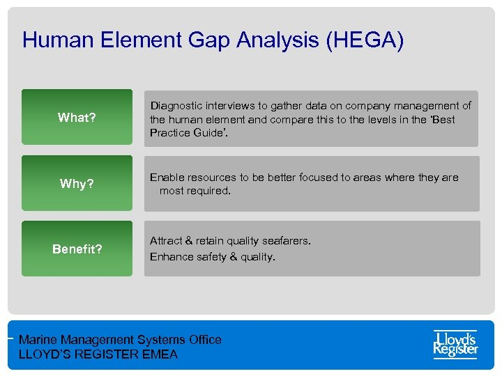 Human Element Gap Analysis (HEGA) What? Diagnostic interviews to gather data on company management