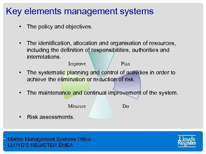 Key elements management systems • The policy and objectives. • The identification, allocation and