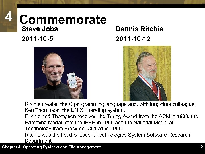 4 Commemorate Steve Jobs 2011 -10 -5 Dennis Ritchie 2011 -10 -12 Ritchie created