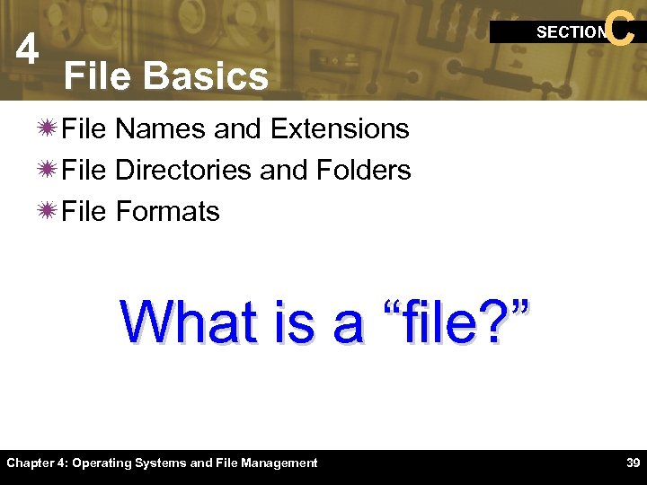 4 C SECTION File Basics ïFile Names and Extensions ïFile Directories and Folders ïFile