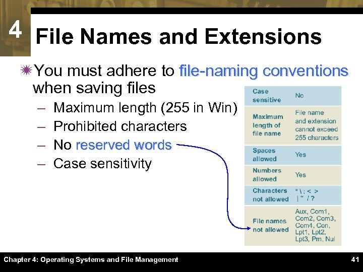 4 File Names and Extensions ïYou must adhere to file-naming conventions when saving files