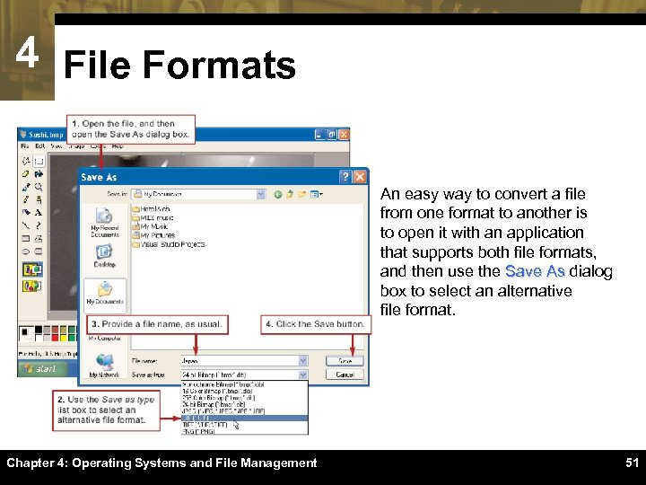 4 File Formats An easy way to convert a file from one format to