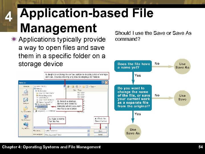 4 Application-based File Management ï Applications typically provide a way to open files and