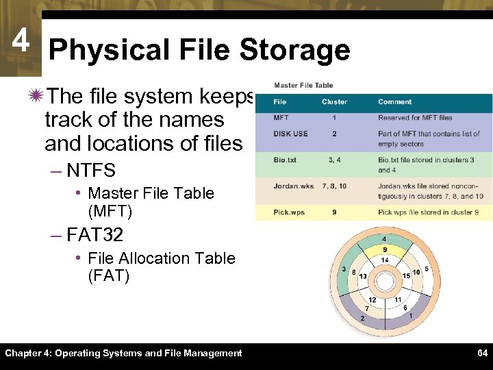 4 Physical File Storage ïThe file system keeps track of the names and locations