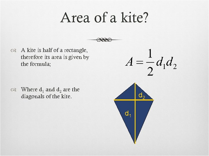 Area of a kite? A kite is half of a rectangle, therefore its area
