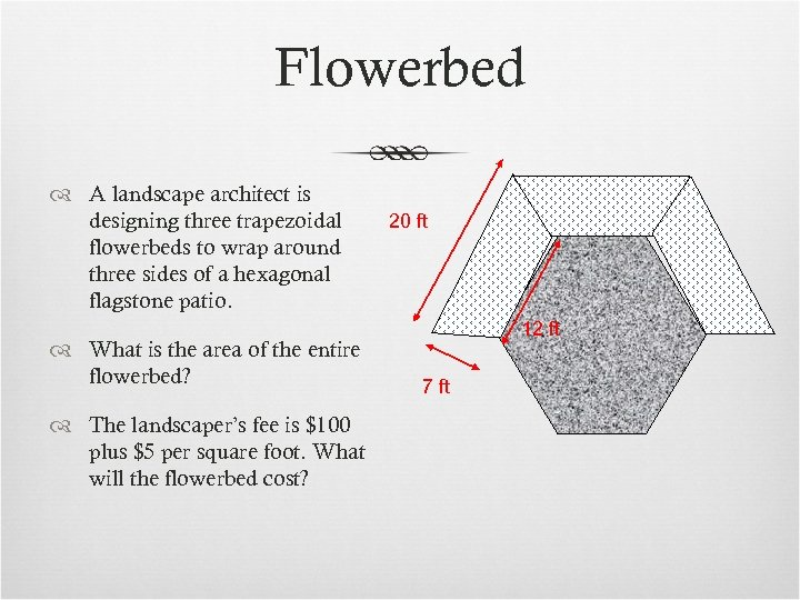 Flowerbed A landscape architect is designing three trapezoidal flowerbeds to wrap around three sides